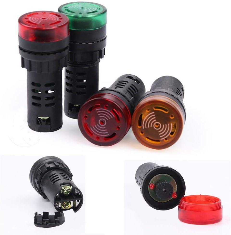 Vap26 Flash LED Alarma Indicador L/ámpara de Se/ñal con Zumbador Beep 12//24//110//220V AD16-22SM