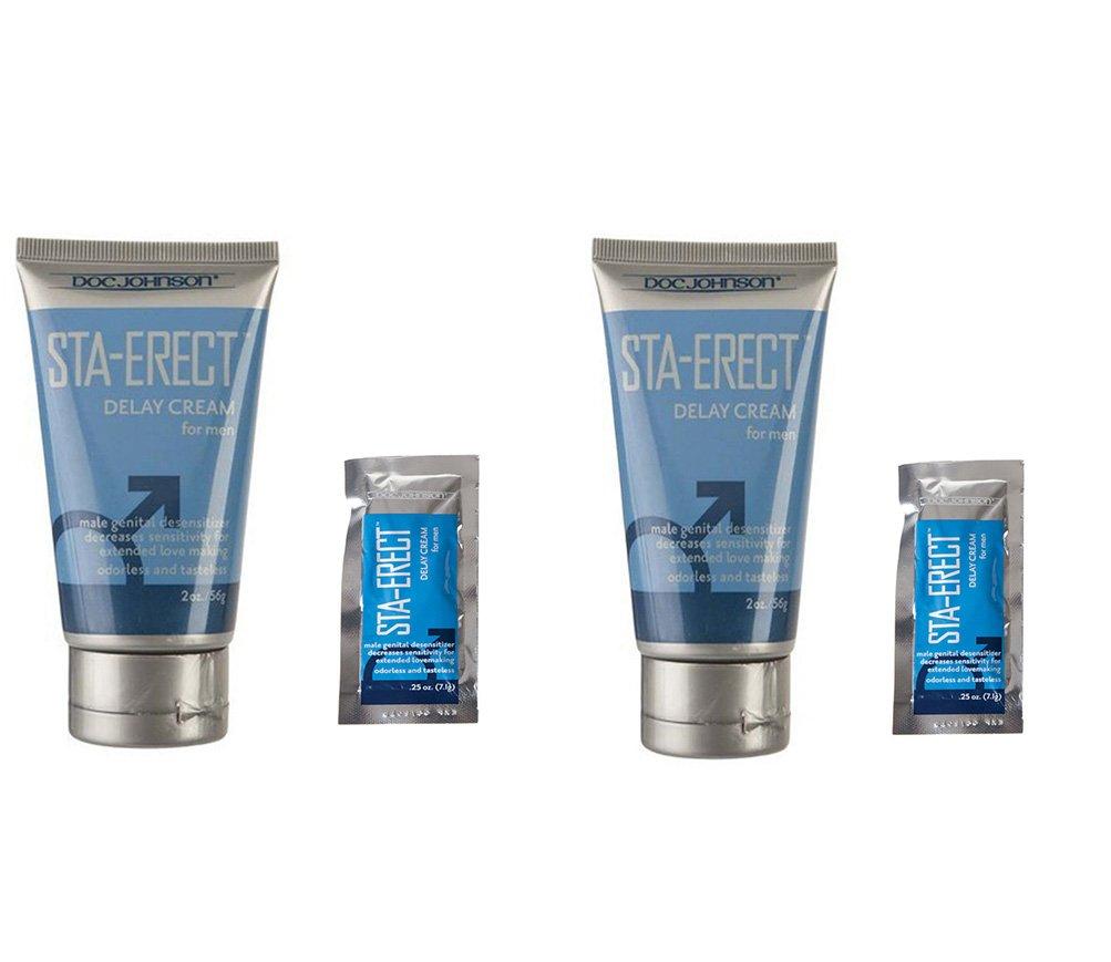 Doc Johnson Sta-Erect Delay Cream for Men Male Genital Desensitizer Adorless Tasteless 2oz Tube + 1 Sta-Erect delay Cream Foil .25oz