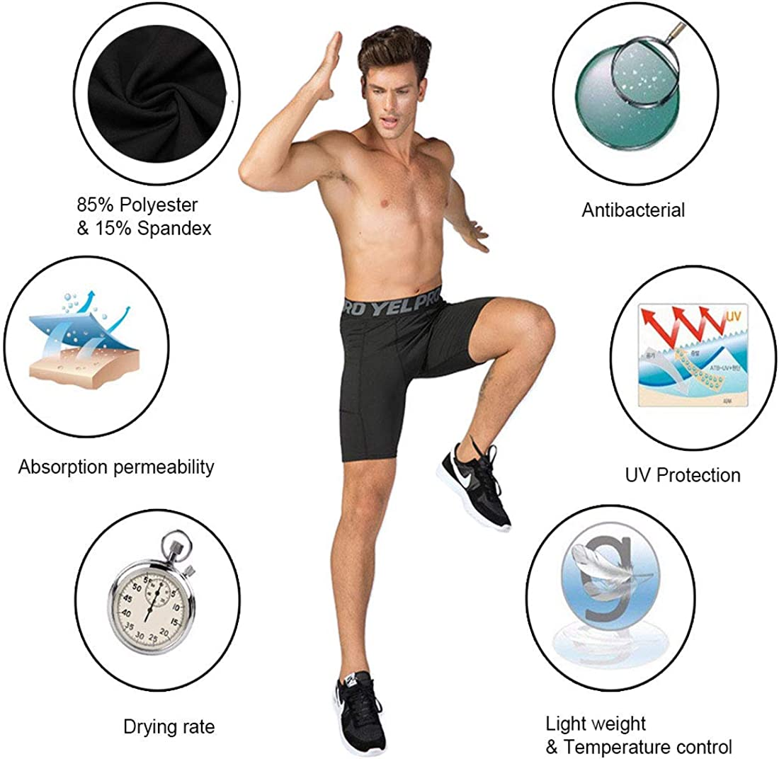 Mens Running Workout Swim Compression Shorts with Pocket Quick Dry Athletic Underwear 3 Pack Black+Gery+Blue, Large