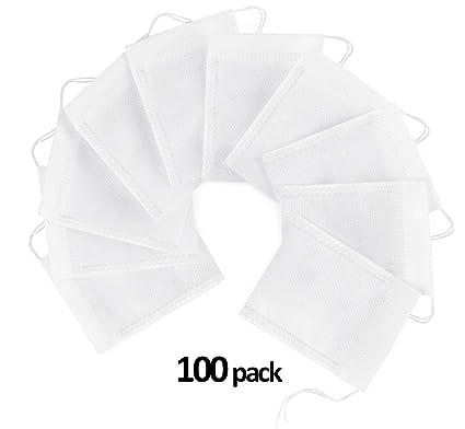 ilauke 100pcs Bolsas de Papel del Filtro de Té de Bombeo Línea de Desechable, Blanco 7*9 cm