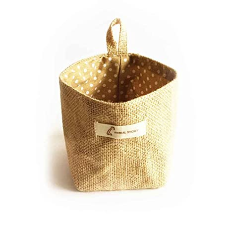 Providethebest Sala de estar de almacenamiento saco de tela que cuelgan bolsas de comestibles paño maceta Vivienda cesta amarillo 14cm * 12.5cm