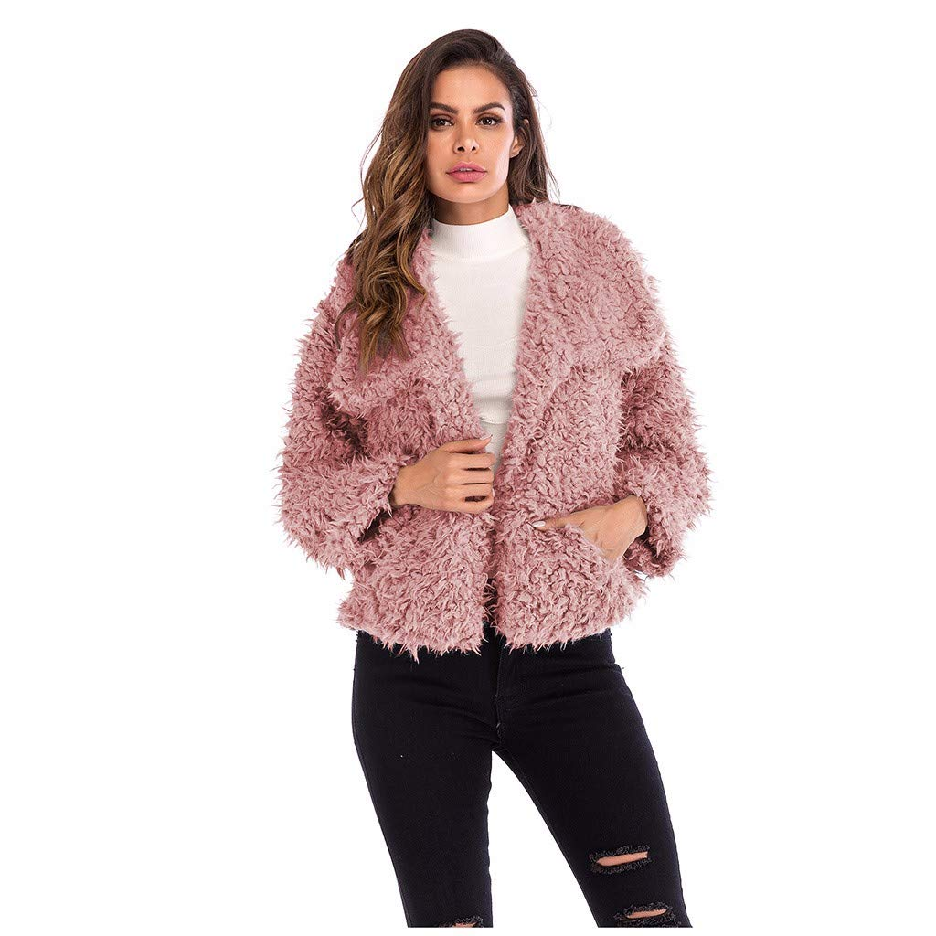Women Jacket,Women Autumn Winter Casual Turn Down Collar Faux Fur Warm Short Jacket Coat,Woman, Cardigan,Vests Pink by Dsood