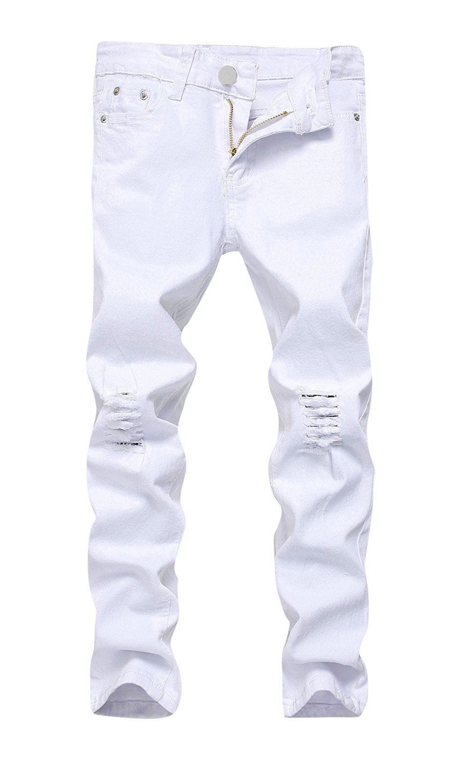 MEIKESEN Boy's Fashion Skinny Fit Ripped Distressed Stretch Slim Denim Jeans With Holes White Size 16