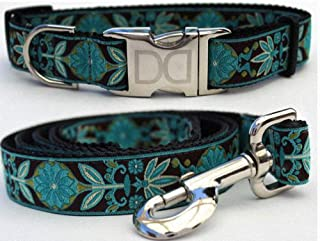 "product image for Diva-Dog 'Boho Peacock' Custom Small Dog 5/8"" Wide Dog Collar with Plain or Engraved Buckle, Matching Leash Available - Teacup, XS/S"