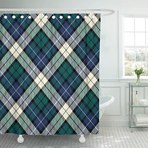 Breezat Shower Curtain Christmas Black Watch Plaid English Kilt Material Scotland Waterproof Polyester Fabric 72 x 72 Inches Set with ()