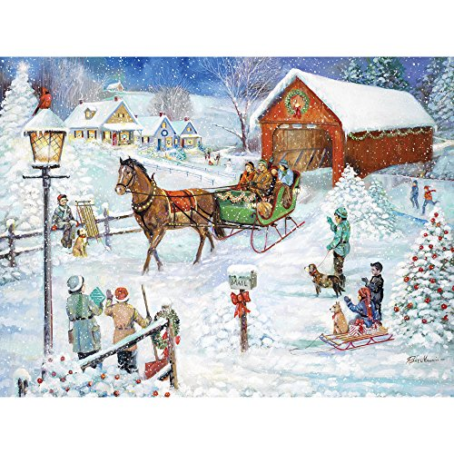 Bits and Pieces - 300 Piece Jigsaw Puzzle for Adults - Christmas Sleigh Ride - 300 pc Holiday Winter Horse Jigsaw by Artist Ruane Manning