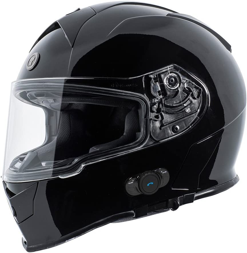TORC T14B Bluetooth Integrated Mako Full Face Helmet (Gloss Black, X-Large)
