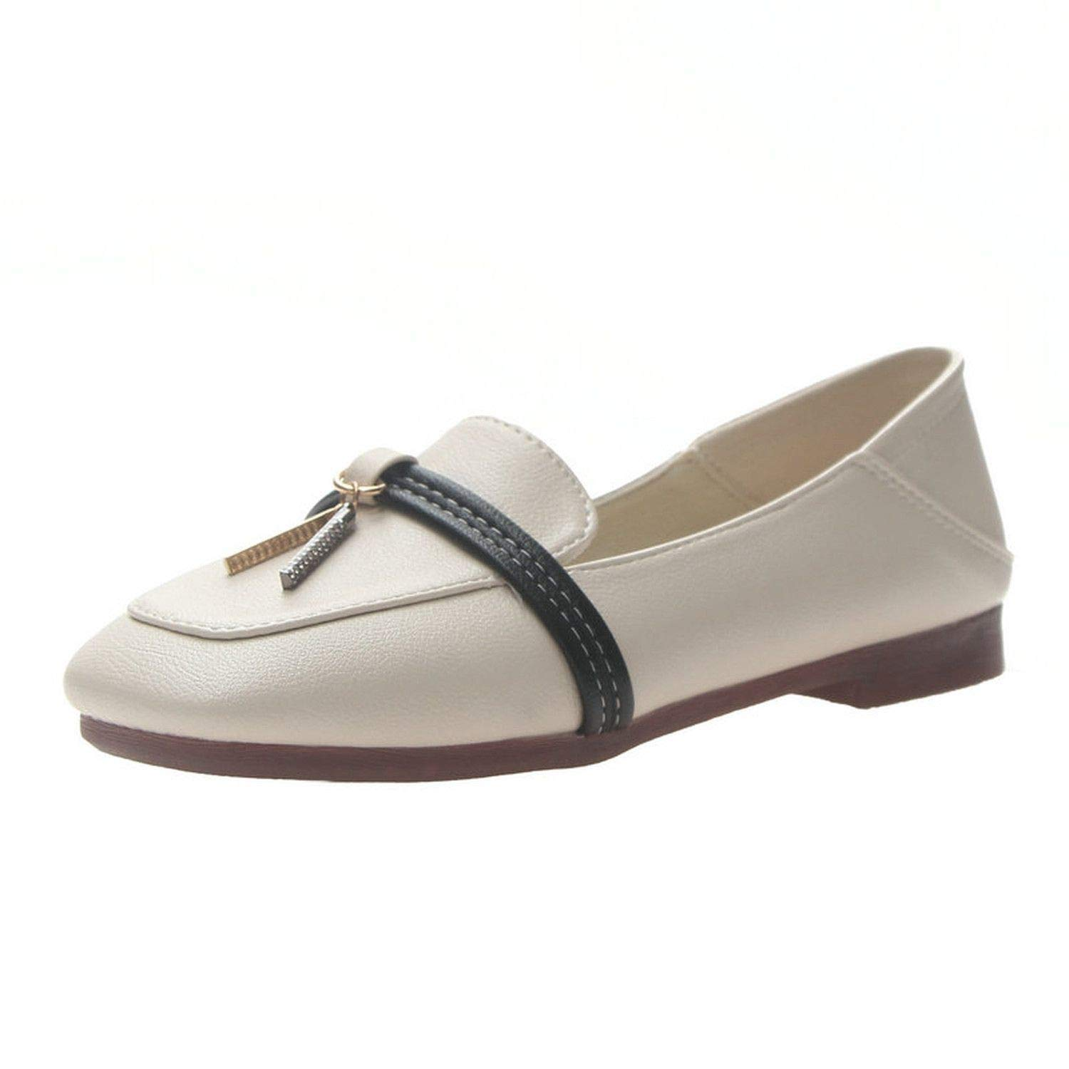 Luck Man Concise Spring//Autumn Female Flats Womens Pointed Toes Low Heels Silp-On Shoes Woman Metal Casual Shoes
