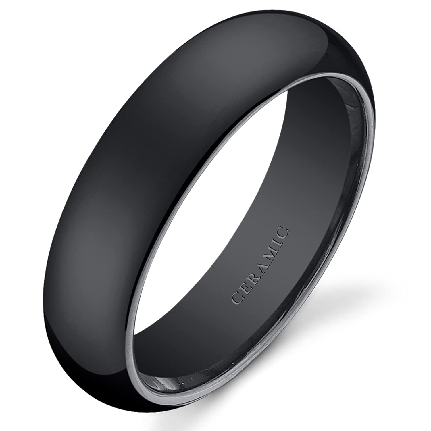 classy 6mm dome style mens and womens black ceramic wedding band ring available in sizes 5 to 13 amazoncom - Ceramic Wedding Rings