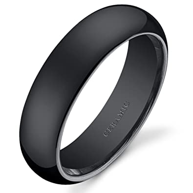 Classy 6mm Dome Style Mens and Womens Black Ceramic Wedding Band