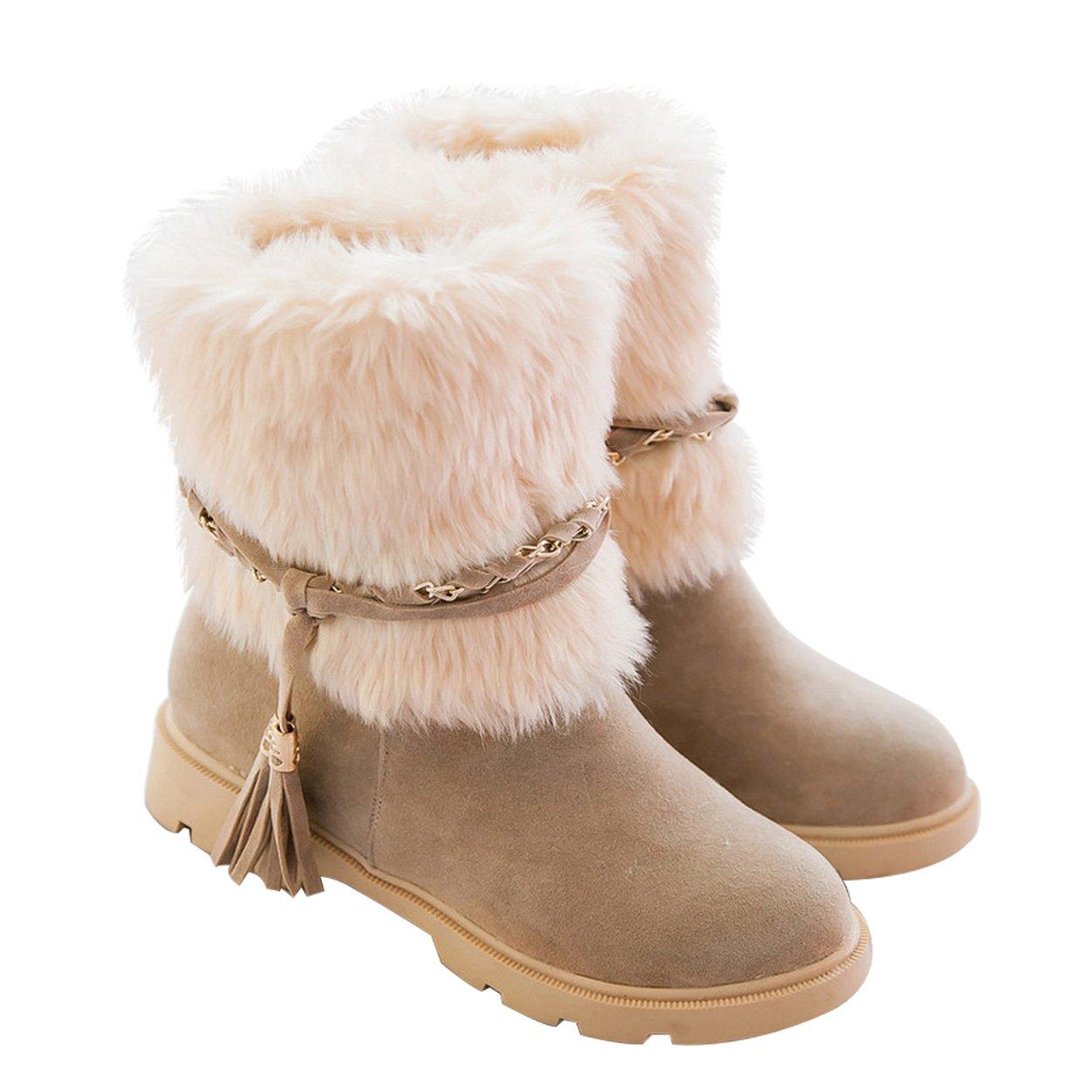 Susanny Women's Winter Fashion Warm Short Booties Casual Outdoor Suede Flat Heel Waterproof Faux Fur Beige Snow Boots 10.5 B (M) US