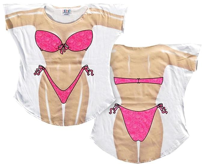 89453c1428 Amazon.com: Dark Skin Bikini Cover-Up Ladies T-Shirt Size M/L: Clothing