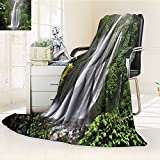AmaPark Digital Printing Blanket Waterfall Rain in Indonesia Tropical Trees Adventure Green Summer Quilt Comforter