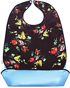1 Pack Adult Bibs for Eating with Crumb Catcher - Washable and Reusable Clothing Protectors for Elderly Women