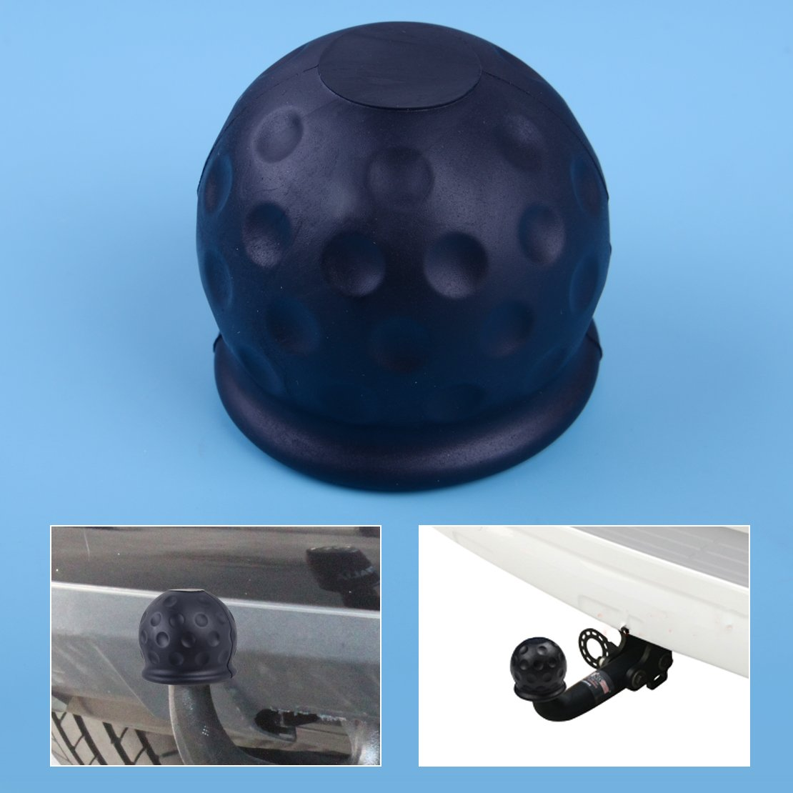beler Car Rubber Black 50mm Tow Ball Towball Protector Cover Cap Hitch Caravan Trailer