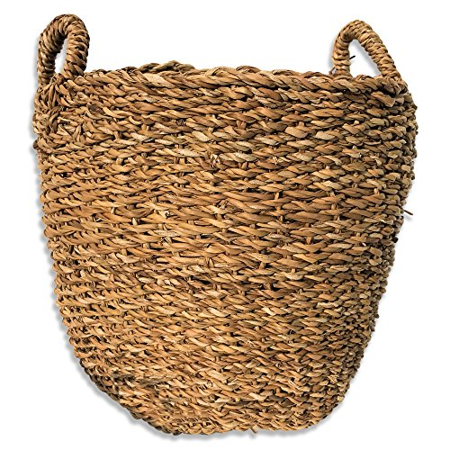 The Made by Nature Seagrass Basket Round With Top Handles, Natural Chunky Sweater Weave, Made by Hand, Over 1 Ft Tall x 11 3/4