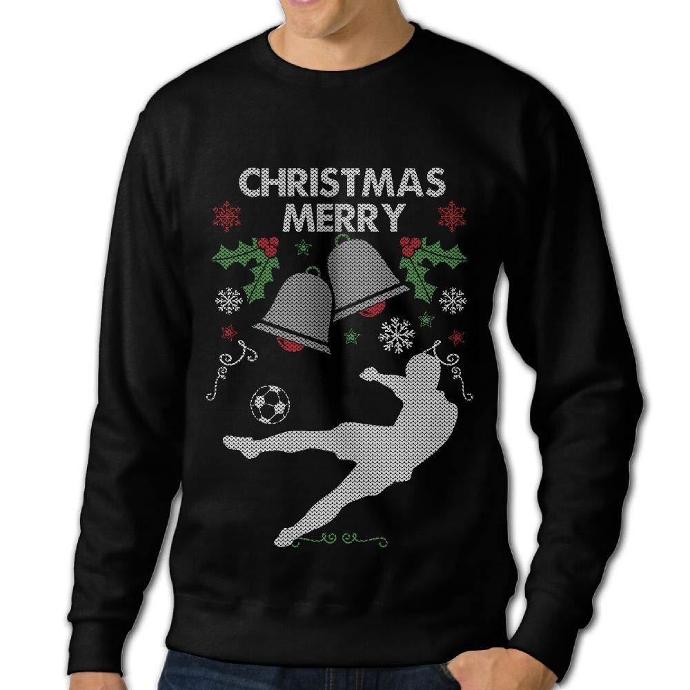 LLiYing-D Merry Christmas Soccer Adult Mens Fashion Long Sleeve Sweater T Shirt