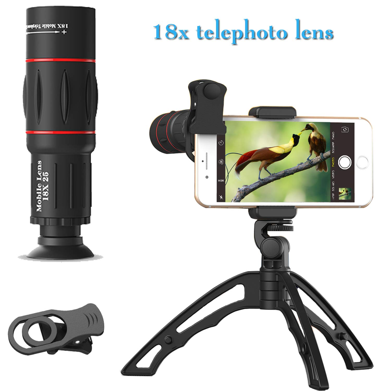 Cell Phone Camera Lens Kit, 18X telephoto Zoom lens Clip On Attachment With Stable Multipurpose Tripod For Iphone 7 8 X 6 S Samsung S8, S9 Most Android Cell Phone