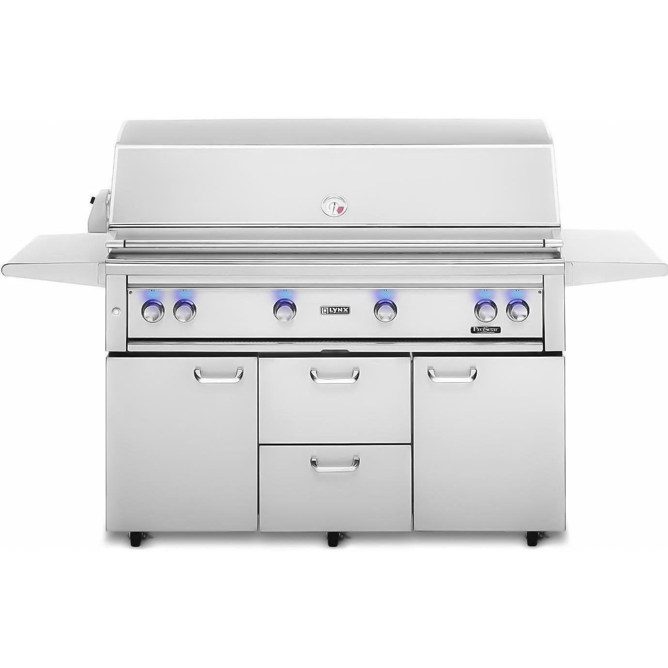 Lynx L54PSFR-2-NG Natural Gas Grill-On Cart with Pro Sear Burner and Rotisserie, 54-Inch