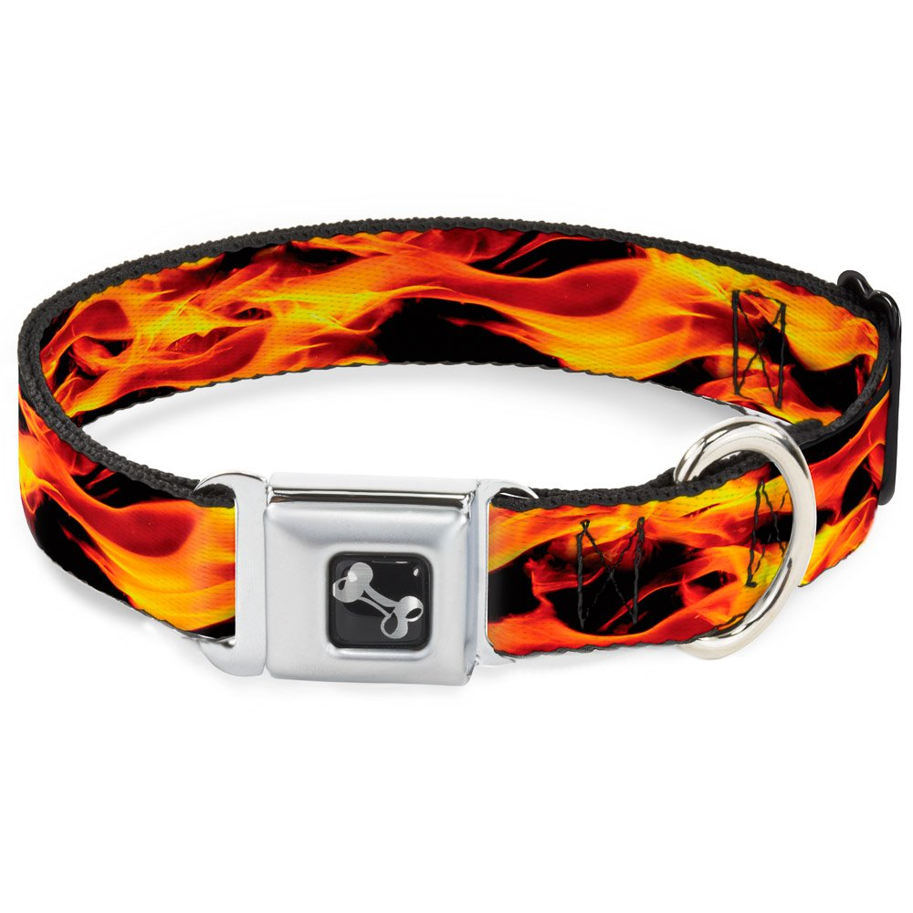 Buckle-Down Flames Vivid Black orange Dog Collar Bone, Wide Large 18-32