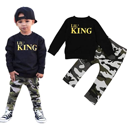 e55e7ac55 Baby Boy Letter T Shirt Tops+Camouflage Pants Outfits Clothes Set (Black, 80
