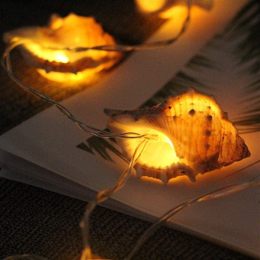 Lumi/ères de No/ël LED guirlande lumineuse coquillages conque Hawaii Party Decoration Color : 1.65M10 light is always on