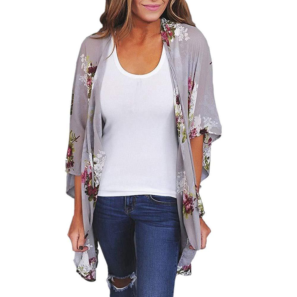 ZEFOTIM Clearance Sale Women Chiffon Loose Shawl Print Kimono Cardigan Top Cover Up Blouse Beachwear (S,Gray)