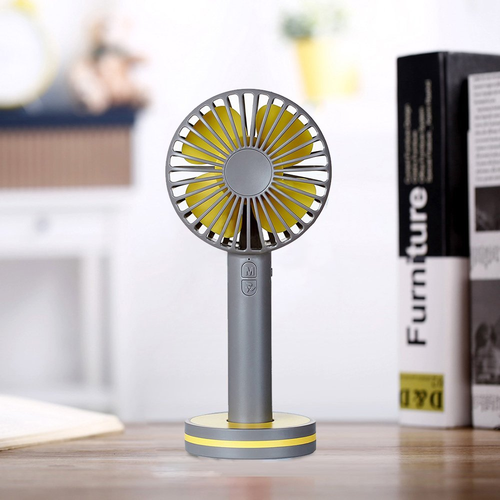 Niubity Mini Handheld Personal Fan Rechargeable Battery Powered 3 Speed Portable Adjustable Table USB Fans Travel Cooler 2000mAh(Gray)