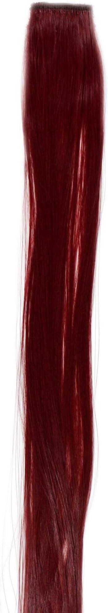 WIG ME UP- YZF-P1S18-T2315 Extensión de pelo con 1 clip mechón liso rojo oscuro 45 cm/ 18 inch