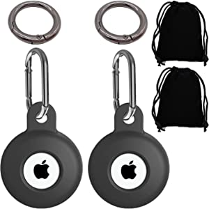 Apple Inc Airtags Case, Compatible with Keychain Airtag Cover Silicone Protective Case for Apple Airtag 2 Pack (Black+Black)