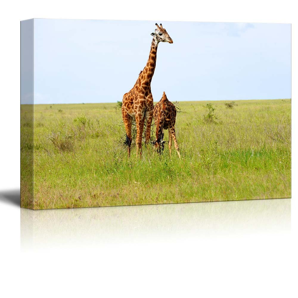 2 Graceful Giraffes in African Savannah Wall Decor Wood Framed ...