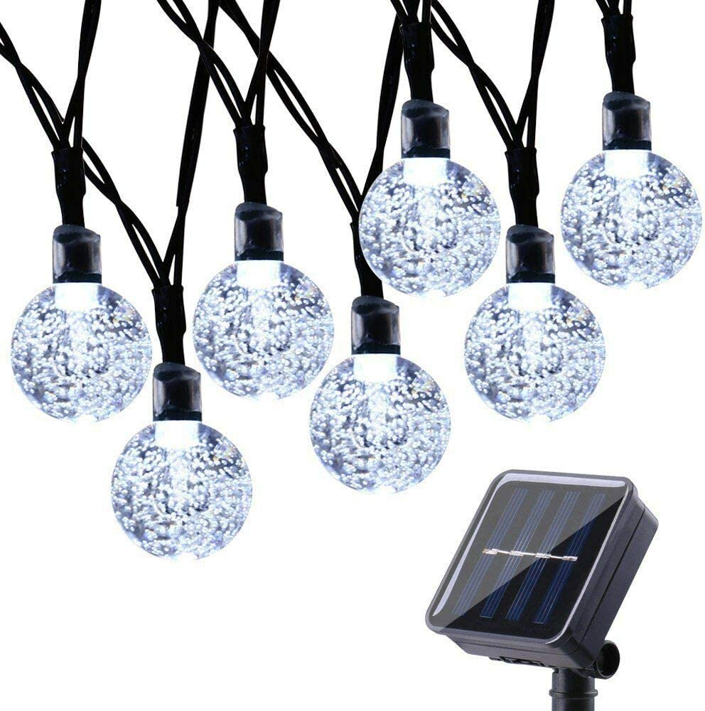 Toodour Solar Globe Christmas Lights, 50 LED 29.5ft Solar String Lights with 8 Modes, Waterproof Crystal Ball Christmas String Lights for Patio, Lawn, Party,Garden, Holiday Decorations (White)