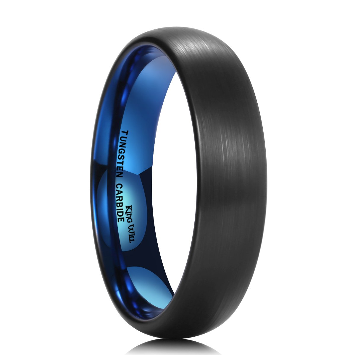 King Will DUO 5mm Blue Black Dome Tungsten Carbide Ring Wedding Band High Polished Brushed(7.5)