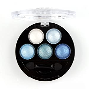 Mallofusa Portable 5 Colors Eye Shadow Palette Trendy Eyeshadow Powder Glitter Makeup Metallic Shimmer Charming Highlight Look (Ice Age) 4.7oz