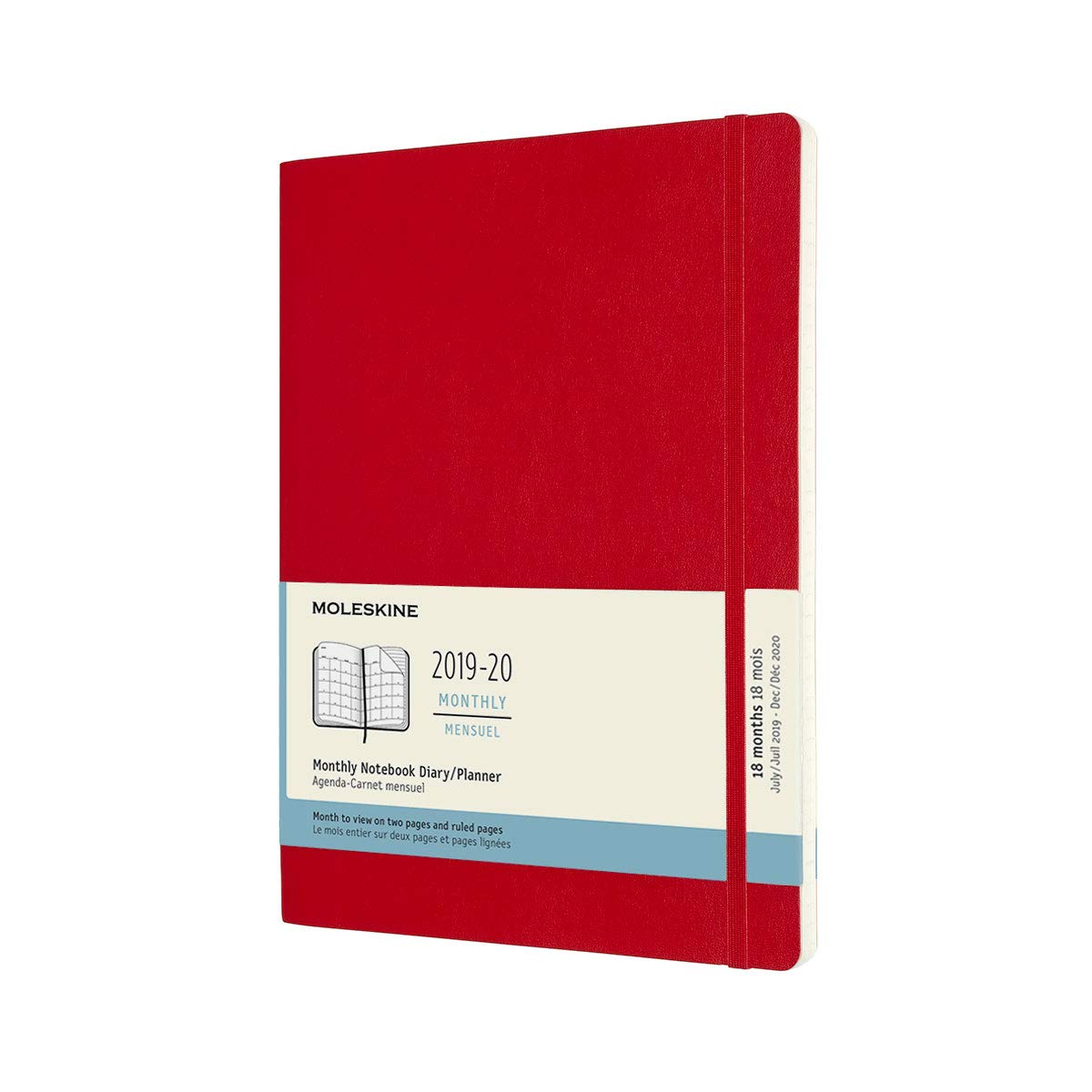 Moleskine 2019-20 Monthly Planner, 18 Month, Extra Large, Scarlet Red, Soft Cover