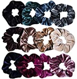Trendy Club Velvet Elastic Hair Scrunchies for Women -12 Pieces