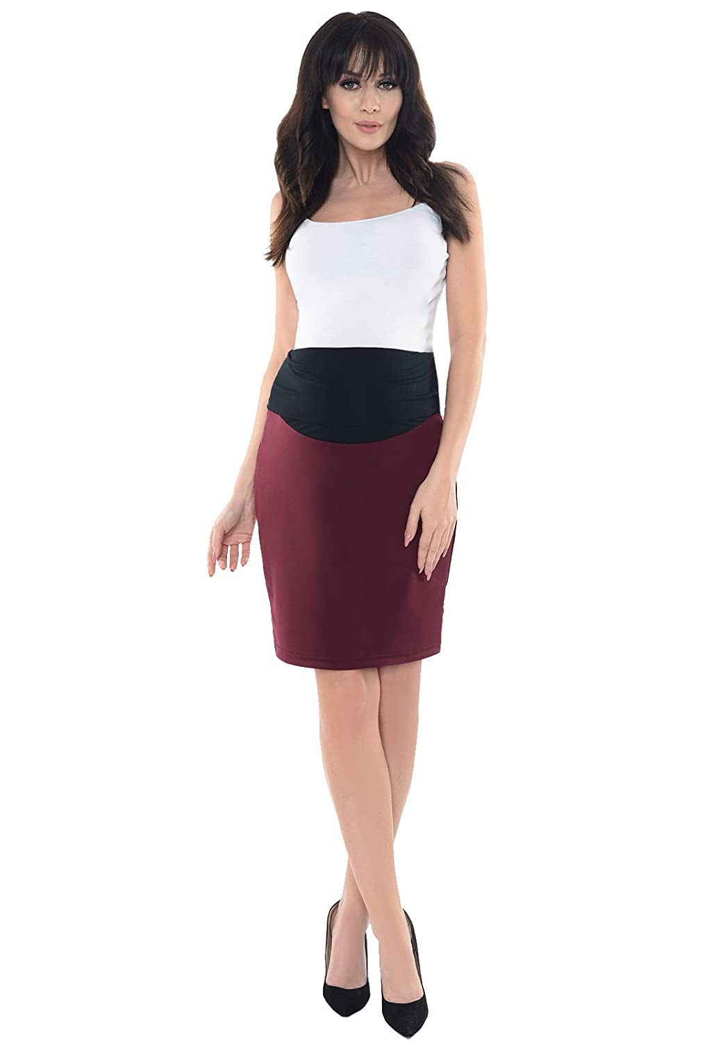 17fb2522a635f Purpless Maternity Formal Pencil Midi Skirt Over Under Belly Office Work  1504 at Amazon Women's Clothing store: