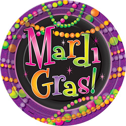 Mardi Gras Beads Dinner Plates, 8ct