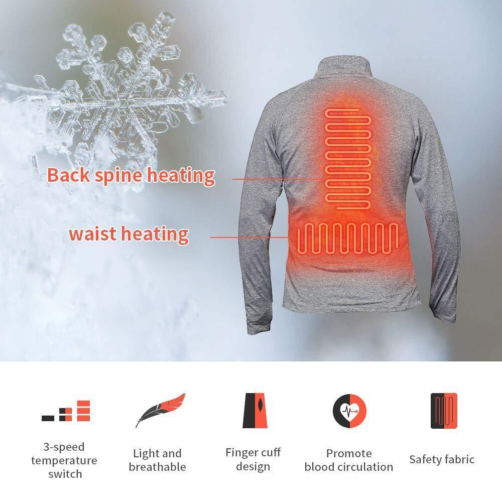 J-Jinpei Ropa Interior T/érmica de Invierno con Calefacci/ón Conjunto de Tops y Pantalones Engrosados S-3XL