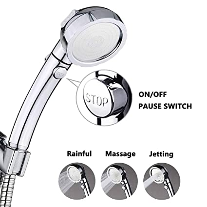 Prime Shower High Pressure Handheld Shower Head With On Off Pause Switch 3 Settings Water Saving Showerhead Chrome Finish Bathroom Shower Accessories By Home Remodeling Inspirations Basidirectenergyitoicom