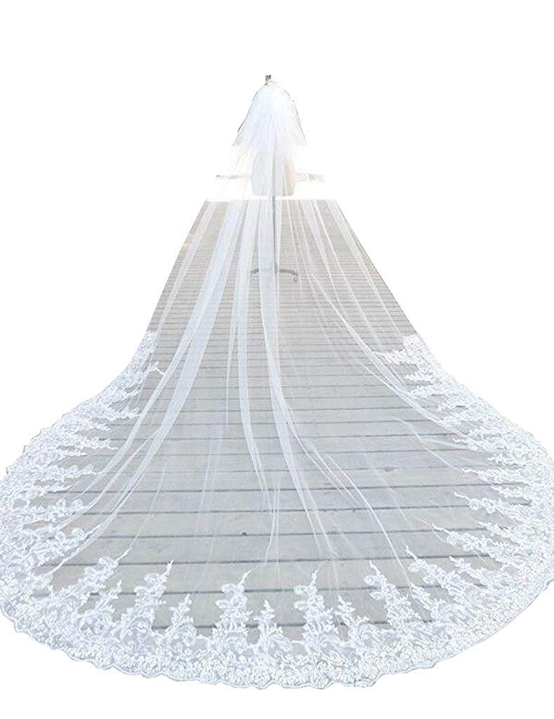 Fenghuavip 1T 1 Tire Lace Veils for Bride Long Bridal Wedding Veil Free Comb