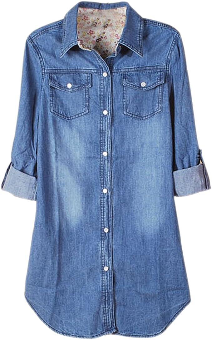 KINDOYO Mujer Camisas Largas Blusas de Vestidos Algodón Vaquero Faldas Manga Larga T Shirt V Cuello, Oscuro Azul
