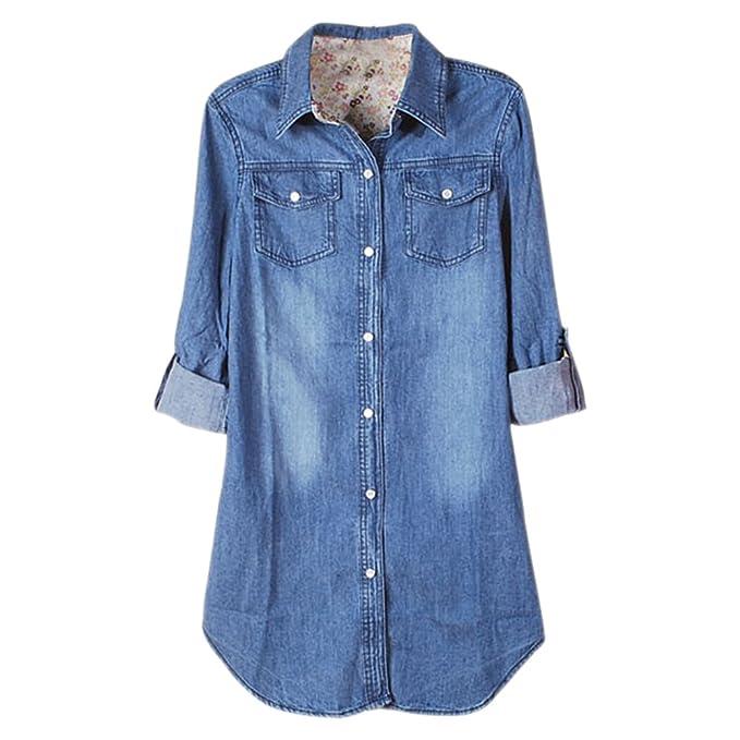 XFentech Mujer Camisas Largas Blusas de Vestidos Algodón Vaquero Faldas Manga Larga T Shirt V Cuello