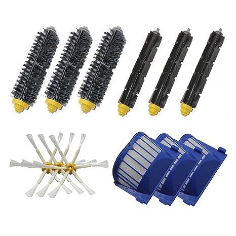SHP-ZONE Aero Vac Filtro & Bristle cepillo & Flexible Beater Cepillo & 6-Armed lado cepillo Pack reposición Mega Kit para iRobot Roomba 600 Serie (620 630 ...