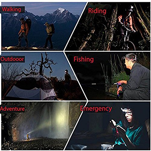 Best LED Headlamp Flashlight 10000 Lumen - IMPROVED LED with Rechargeable 18650 Battery, Bright Head Lights,Waterproof Hard Hat Light,Fishing Head Lamp,Hunting headlamp,Running or Camping headlamps … by Yhkj (Image #6)