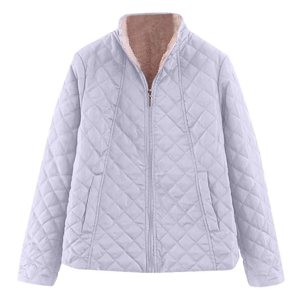 Spring Color  Women's Winter Diamond Long Sleeve Baseball Jacket Bomber Cotton Quilted Biker Zip Up Short Coat Gray by 🍒 Spring Color 🍒