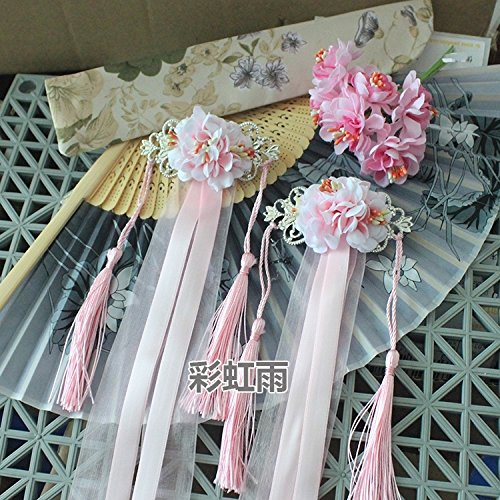 - antique chinese costume han chinese clothing accessories silk flower package ribbon hairpin side folder hair clip barrette hair ribbon tassels ol (upgrade models pink one pair of duckbill clip mod