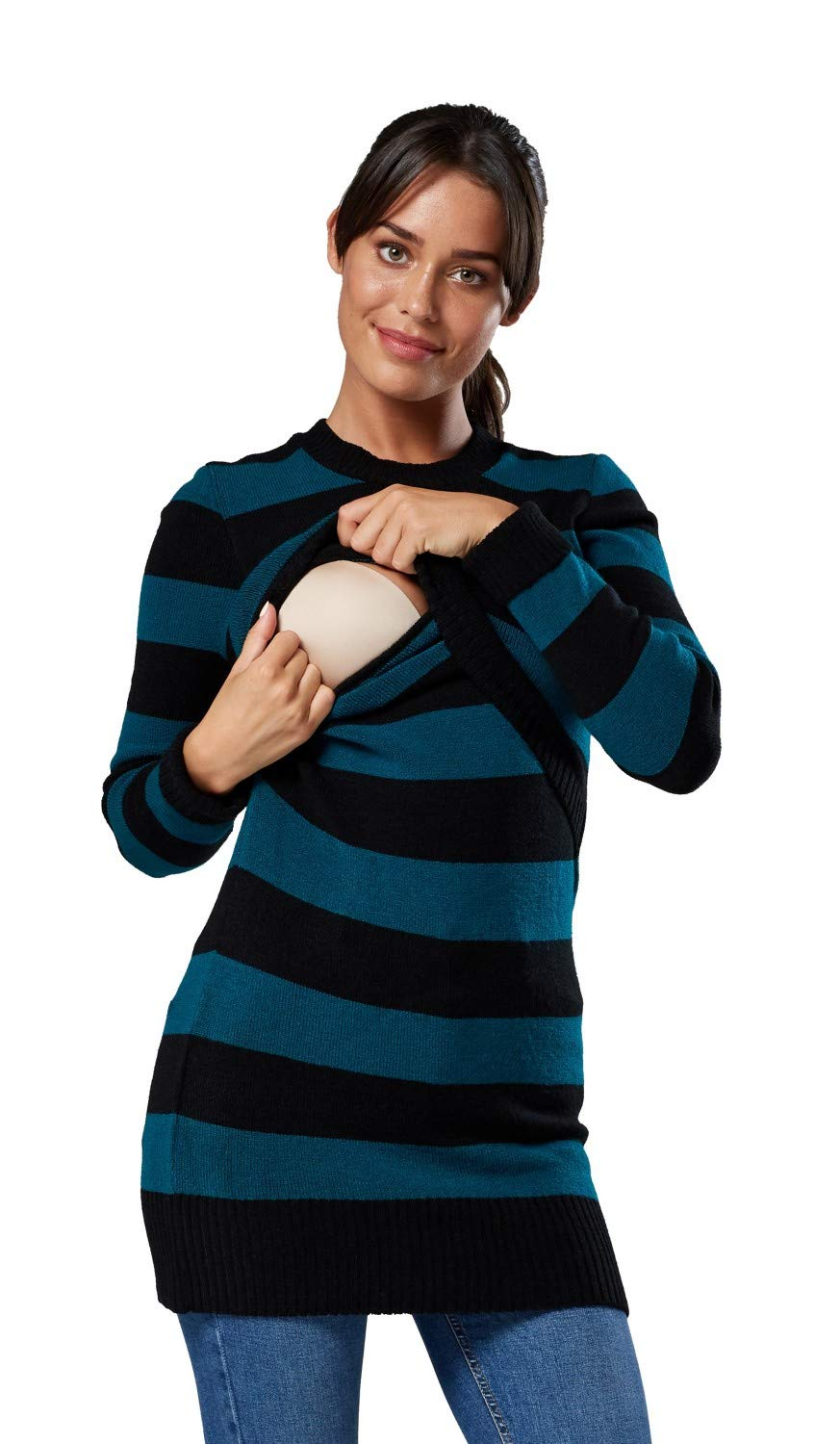 Happy Mama Womens Maternity Knitted Jumper Crew Neck 496p (Bottle Green, US 4/6, S/M)