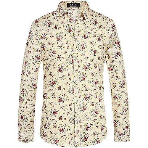 Men 39 s floral dress shirt for Mens white floral shirt