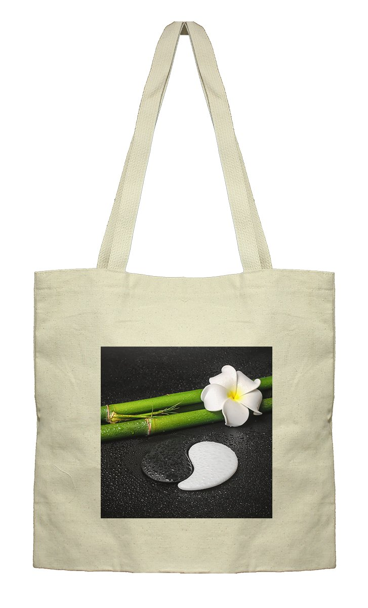 Flat Market Canvas Tote Spa Tropical Frangipanim Flower Symbol By Style In Print
